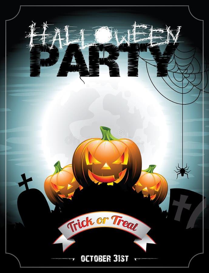 Vectorillustratie op een Halloween-Partijthema met pumkins. royalty-vrije illustratie