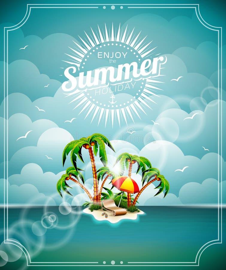 Vectorillustratie op een thema van de de zomervakantie met paradijseiland op overzeese achtergrond royalty-vrije illustratie