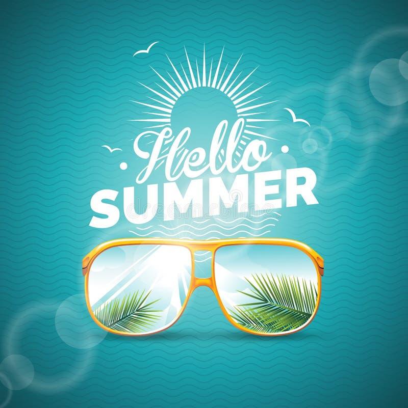 Vectorillustratie op een thema van de de zomervakantie met zonnebril op blauwe achtergrond stock illustratie
