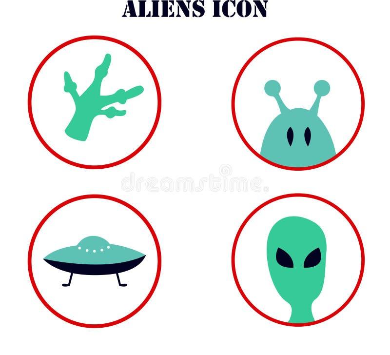 Vectorillustratie op het onderwerp van ufology: ufo, vreemdelingen Cijfer in de vorm van pictogram wordt gemaakt dat stock illustratie