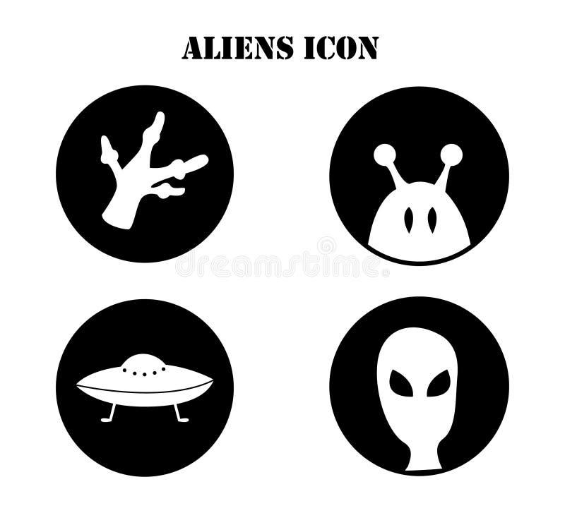 Vectorillustratie op het onderwerp van ufology: ufo, vreemdelingen Cijfer in de vorm van pictogram wordt gemaakt dat royalty-vrije illustratie