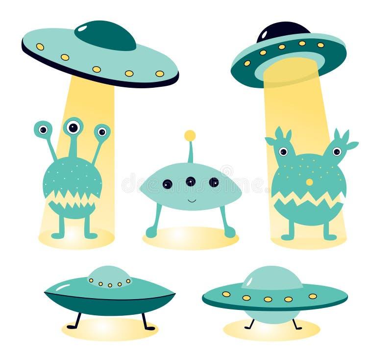 Vectorillustratie op het onderwerp van ufology: ufo, vreemdelingen Vreemde aanvalsaffiches vector illustratie