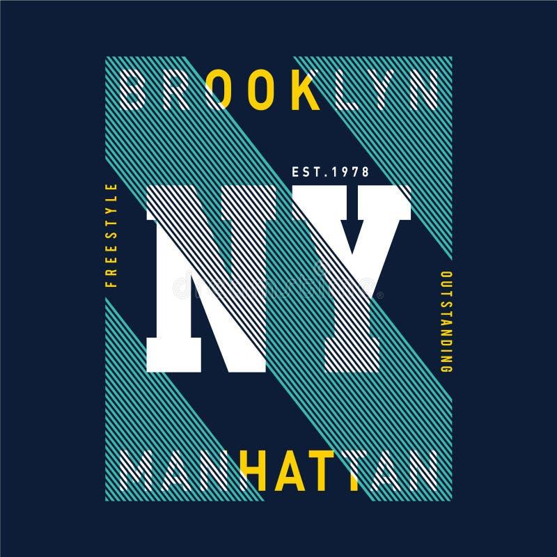 Vectorillustratie op het thema in New York, Brooklyn Typografie, t-shirtgrafiek stock illustratie