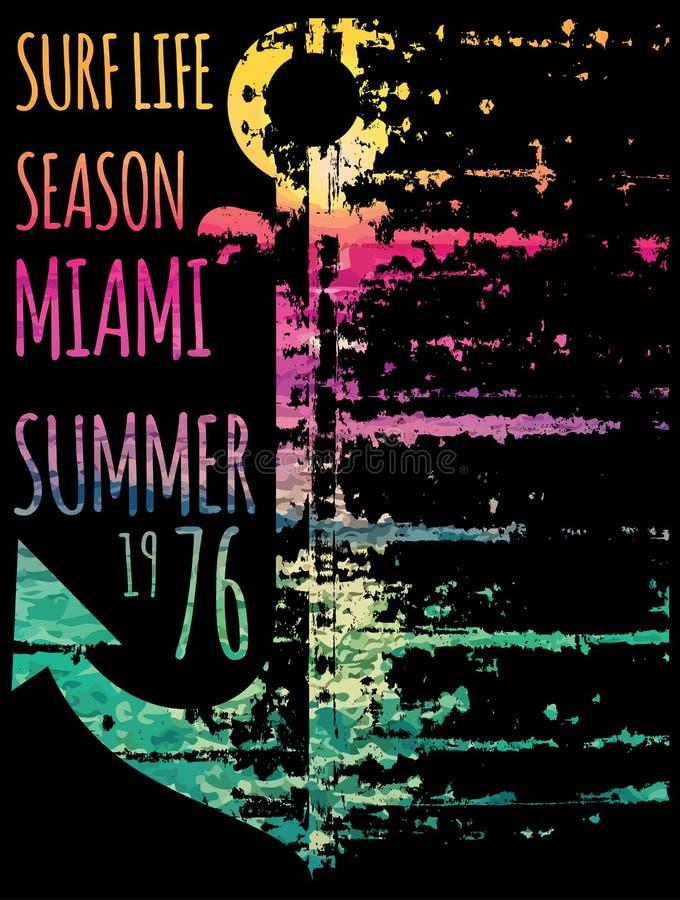 Vectorillustratie op het thema van branding en brandingsclub Miami royalty-vrije illustratie