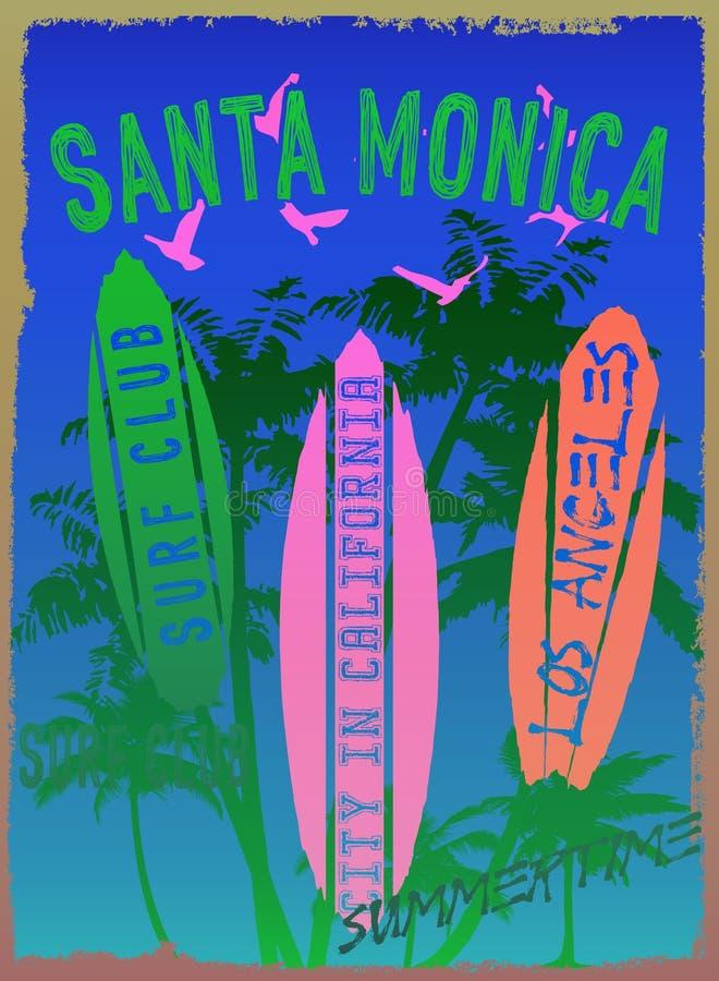 Vectorillustratie op het thema van branding en brandingsclub Santa Mon stock illustratie