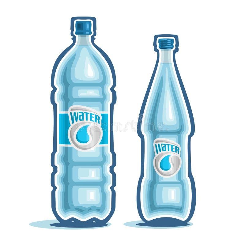 Vectorillustratie op het thema van het embleem voor gebotteld water royalty-vrije illustratie