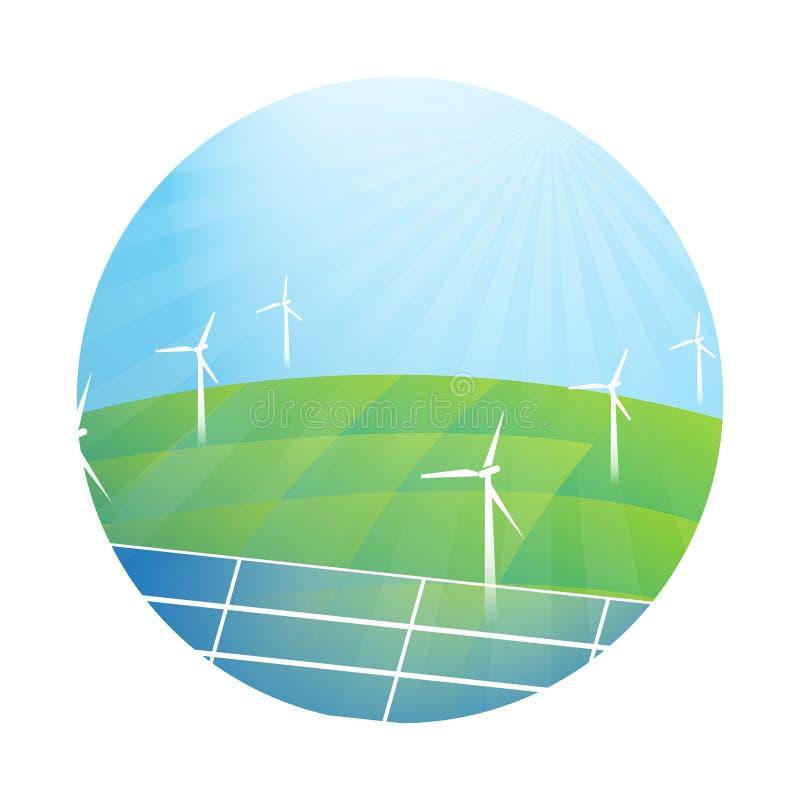 Vectorillustratie over de schone elektriciteit Ontworpen cirkel vector illustratie