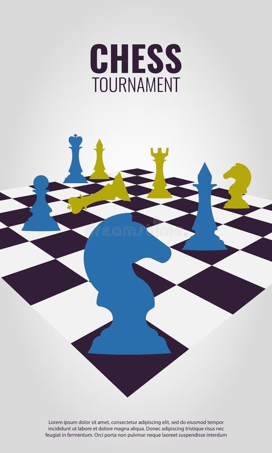 Vectorillustratie over schaaktoernooien, gelijke, spel royalty-vrije illustratie