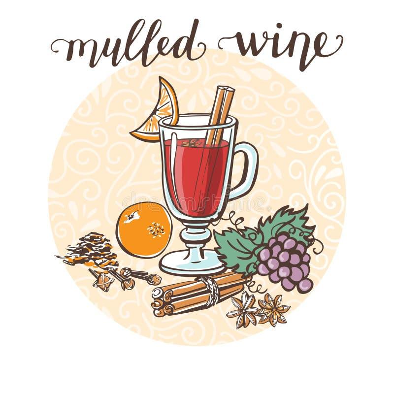 Vectorillustratie Overwogen wijn en ingrediënten stock illustratie