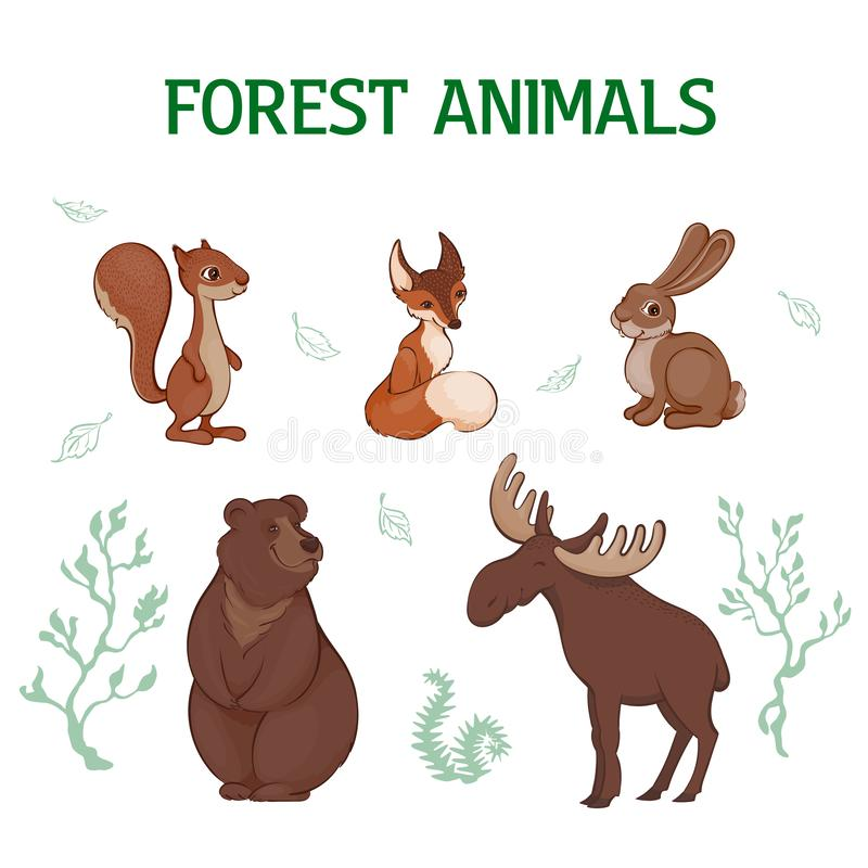 Vectorillustratie, reeks een beeldverhaal leuke bosdieren De eekhoorn, vos, hazen, draagt, elanden royalty-vrije illustratie