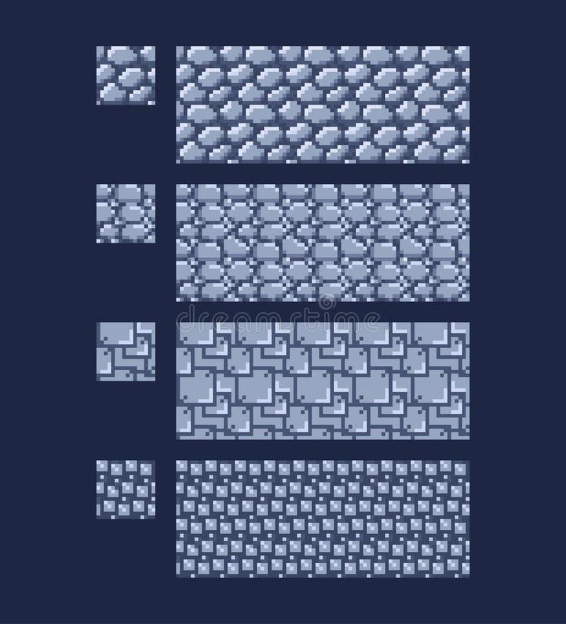 Vectorillustratie - reeks van 16x16-de baksteentextuur met 8 bits van de steenmuur Van het de achtergrond stijlspel van de pixelk royalty-vrije illustratie