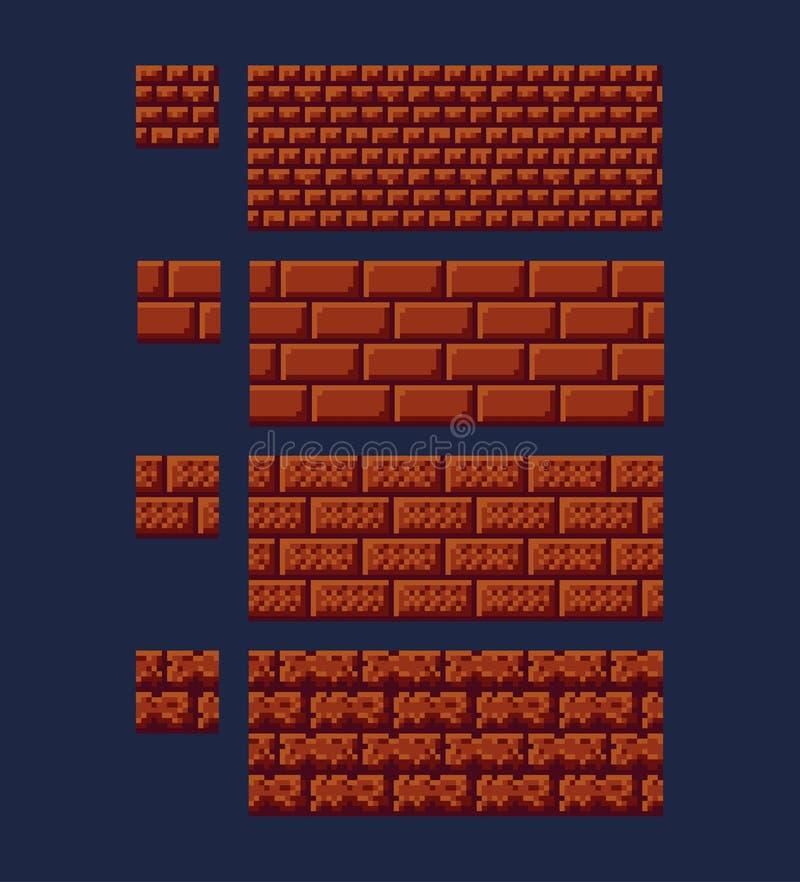 Vectorillustratie - reeks van rode de baksteentextuur met 8 bits van 16x16 Van het de stijlspel van de pixelkunst naadloos bruin  vector illustratie