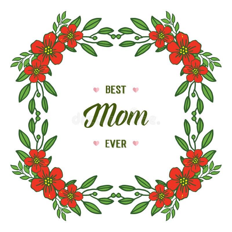 Vectorillustratie rood bloemenkader voor beste mamma ooit royalty-vrije illustratie