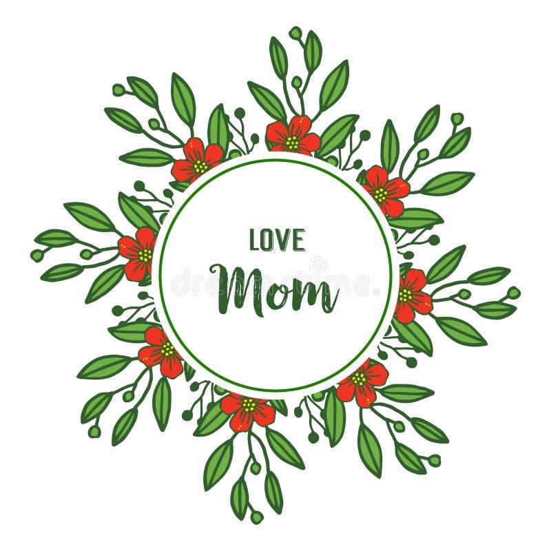 Vectorillustratie rood bloemenkader voor beste mamma ooit stock illustratie