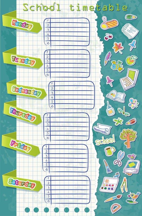 Vectorillustratie. Schooltijdschema. Lijst met  vector illustratie