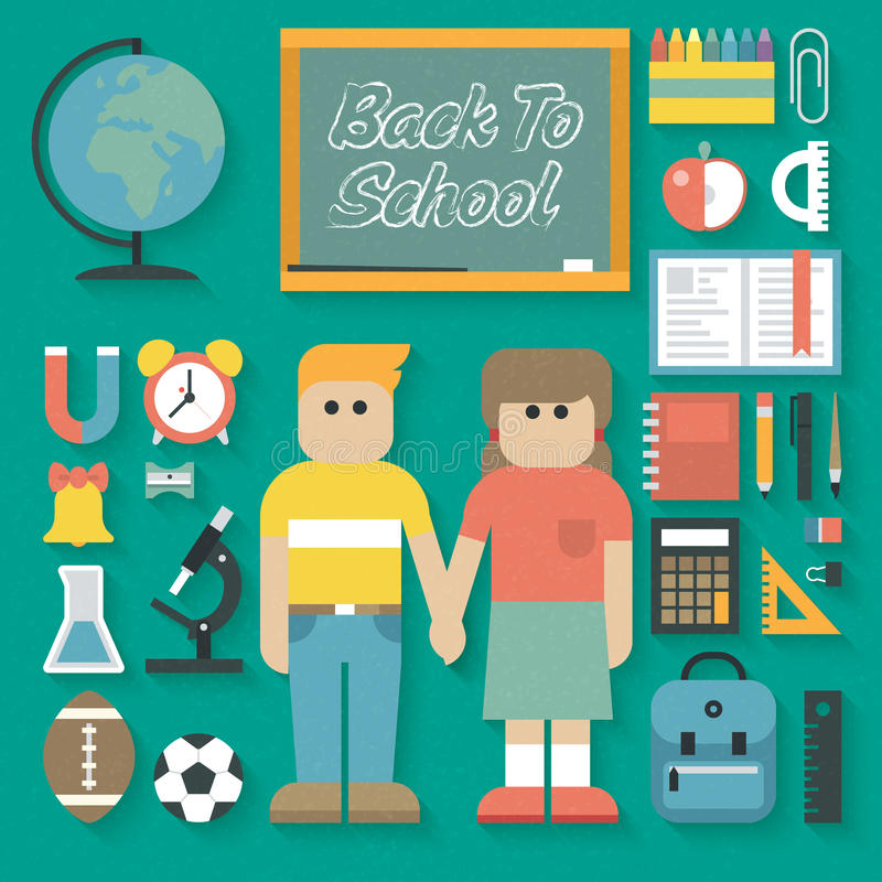 Vectorillustratie: Terug naar Geplaatste School Vlakke Pictogrammen royalty-vrije illustratie