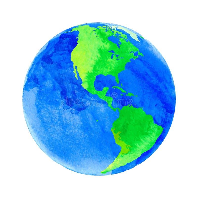 Vectorillustratie van Aarde met waterverftextuur stock afbeelding