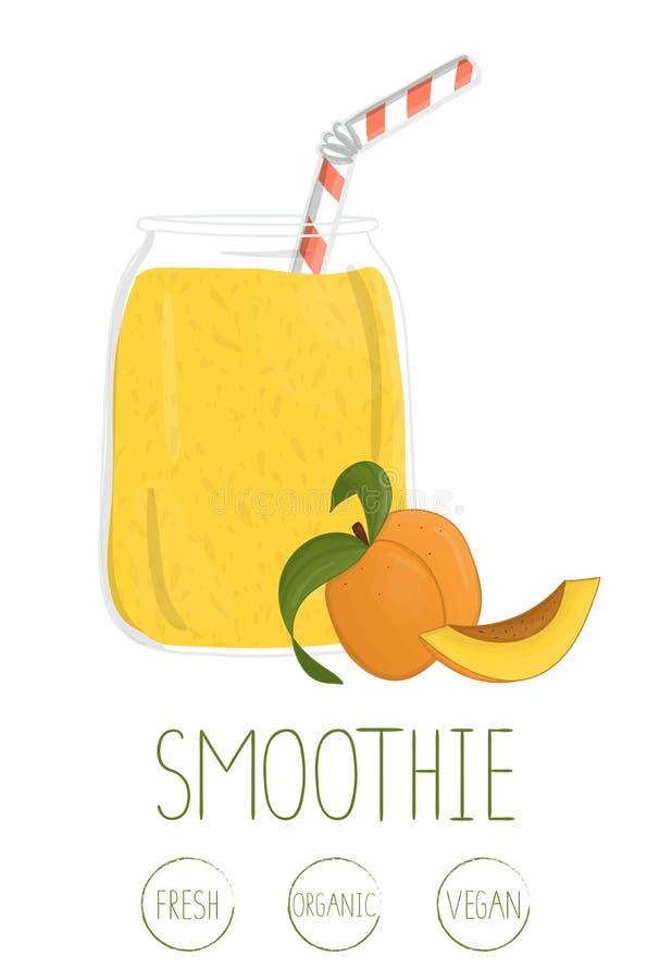 Vectorillustratie van abrikoos smoothie in een glaskruik vector illustratie