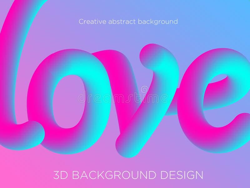 Vectorillustratie van abstracte achtergrond met 3d woordliefde, vloeibaar effect, vloeibare vorm in blauwe en roze kleuren vector illustratie