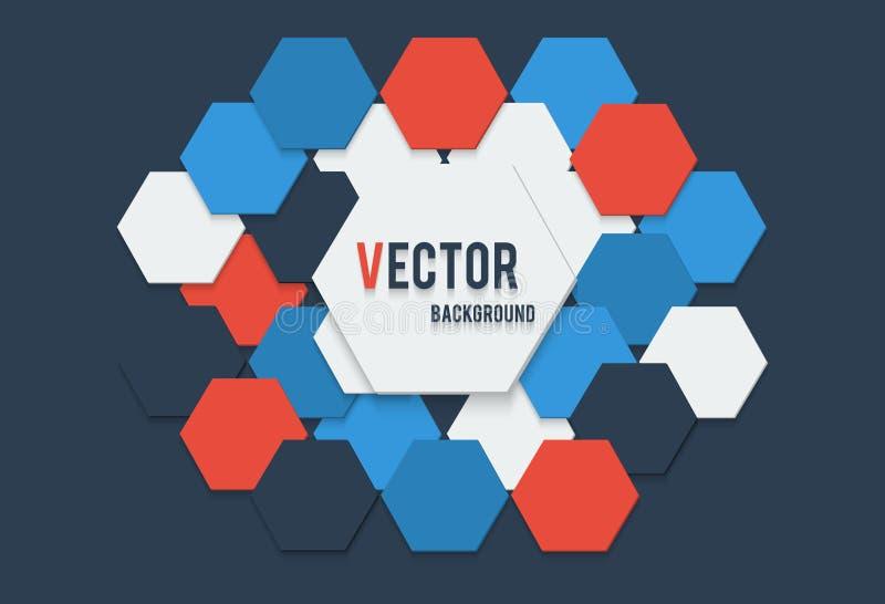 Vectorillustratie van abstracte achtergrond met hexagon witte rode blauwe en donkere kleuren met de banner stock illustratie