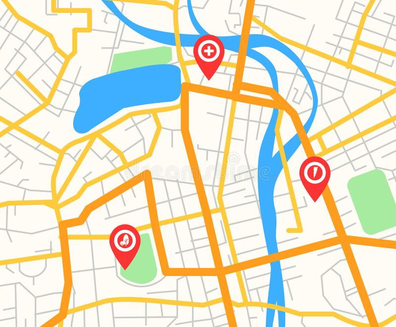 Vectorillustratie van abstracte moderne stadskaart met rode speldwijzers en infrastructuurpictogrammen, vlak navigatorconcept, vector illustratie