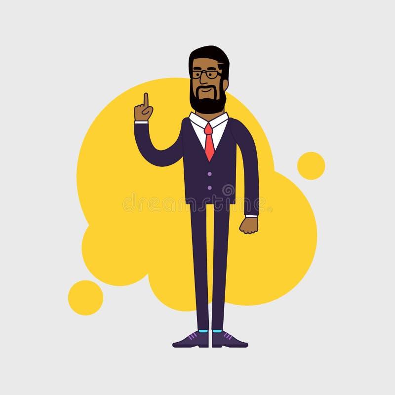 Vectorillustratie van Afrikaanse Amerikaanse zakenman stock illustratie