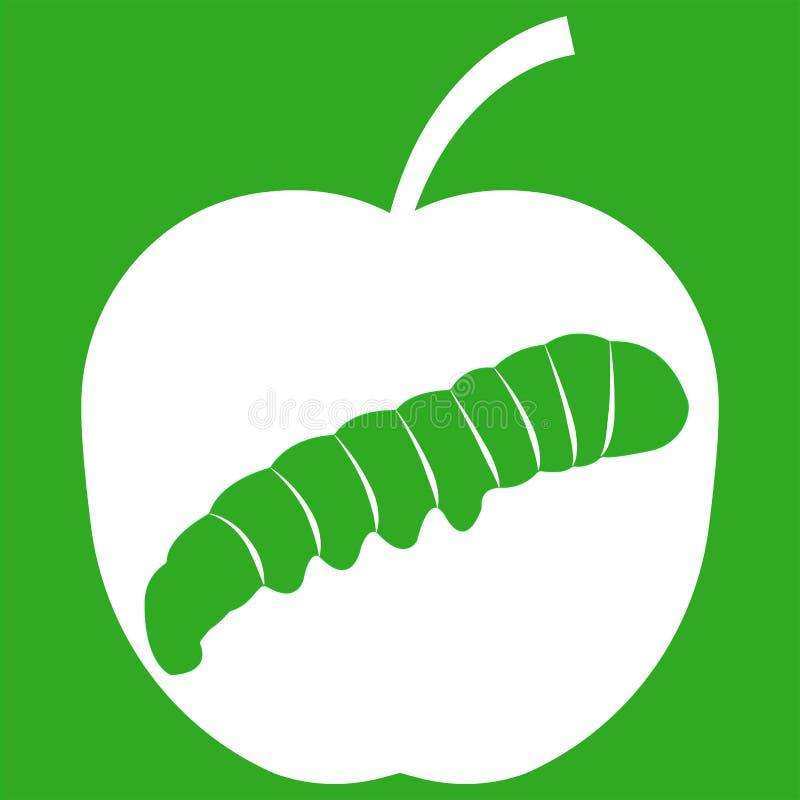 Vectorillustratie van appel op groene achtergrond stock illustratie