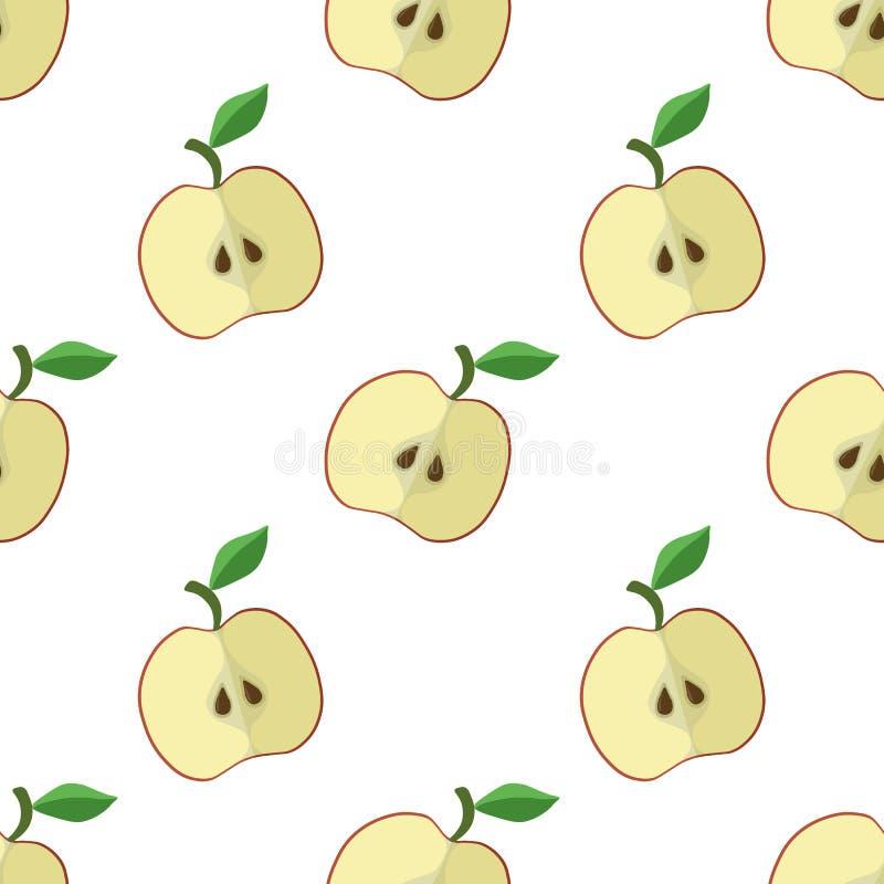 Vectorillustratie van appelen op een lichte achtergrond Helder naadloos patroon met een beeld van een appel royalty-vrije illustratie