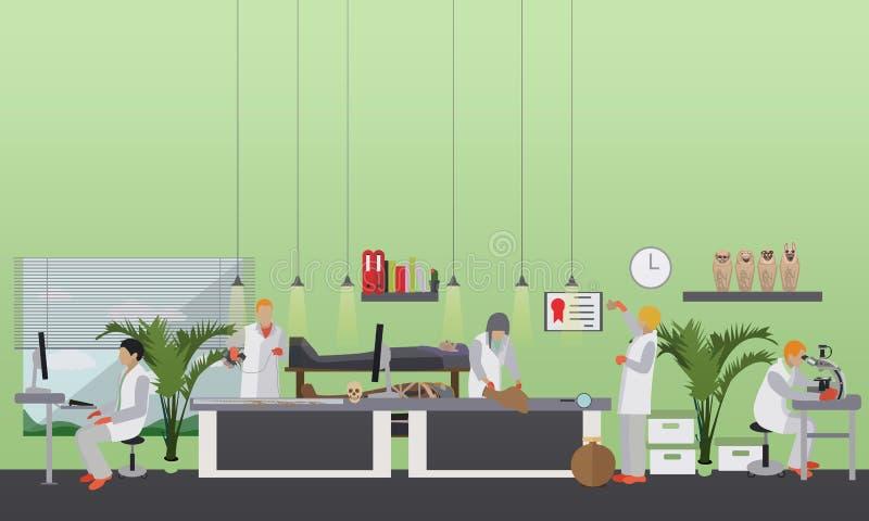 Vectorillustratie van archeologisch laboratorium, mensen op het werk en materiaal stock illustratie