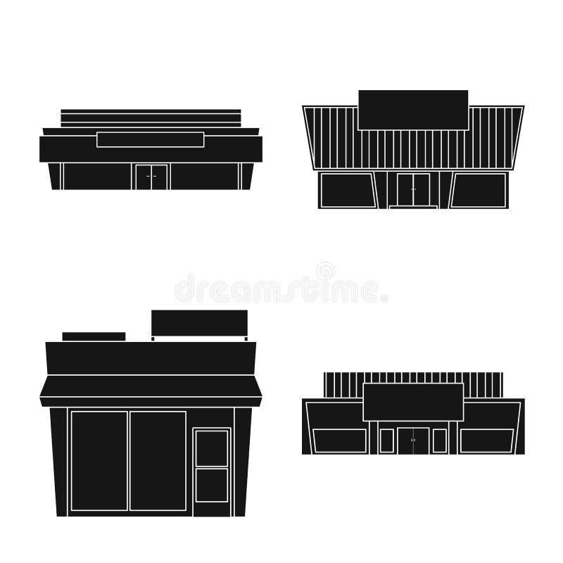 Vectorillustratie van architectuur en cityscape symbool Inzameling van architectuur en supermarkt vectorpictogram voor royalty-vrije illustratie