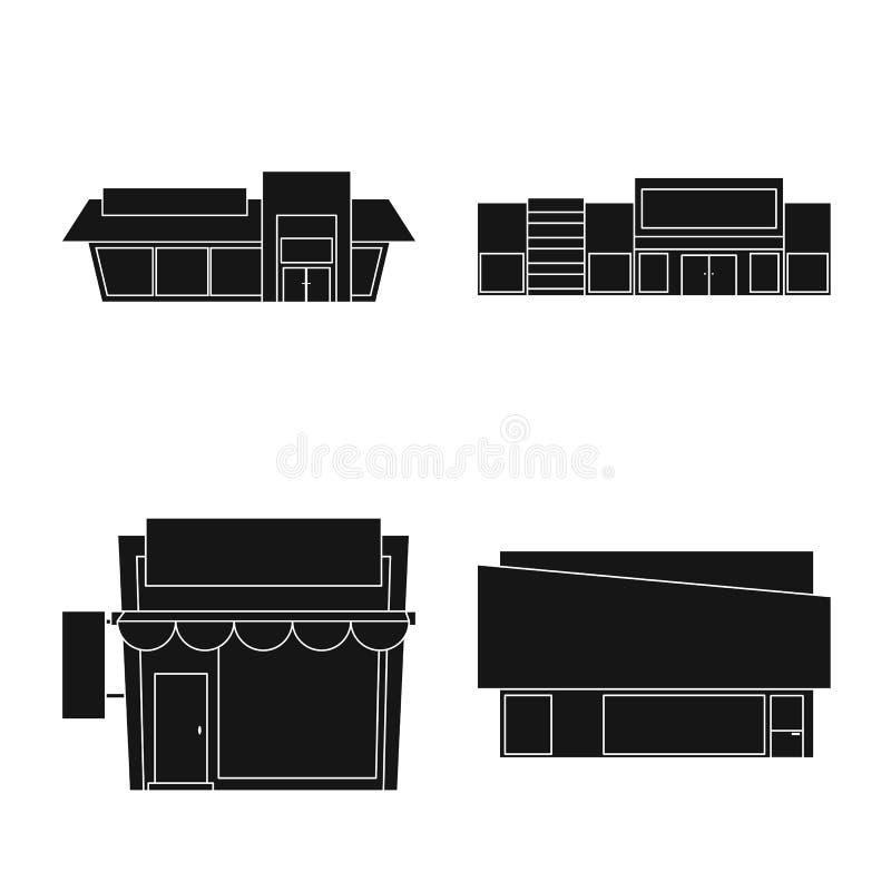 Vectorillustratie van architectuur en cityscape teken Reeks van architectuur en de vectorillustratie van de supermarktvoorraad royalty-vrije illustratie