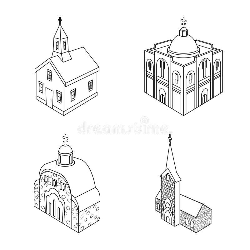 Vectorillustratie van architectuur en de bouwembleem Inzameling van architectuur en de vectorillustratie van de geestelijkheidsvo vector illustratie