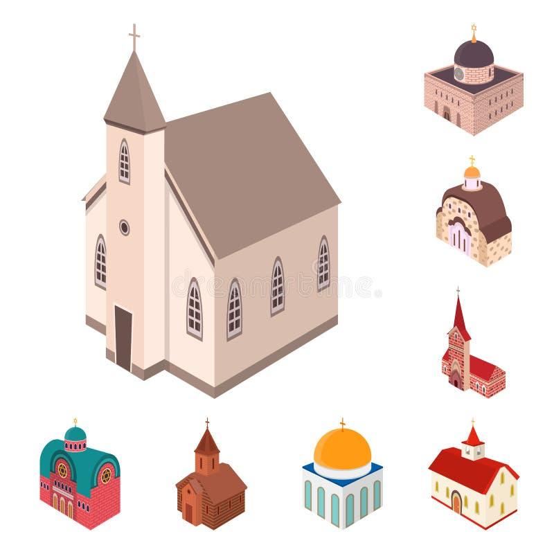 Vectorillustratie van architectuur en de bouwpictogram Inzameling van architectuur en het symbool van de geestelijkheidsvoorraad  royalty-vrije illustratie
