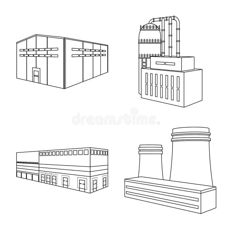 Vectorillustratie van architectuur en industrieel teken Inzameling van architectuur en de bouwvoorraadvector royalty-vrije illustratie