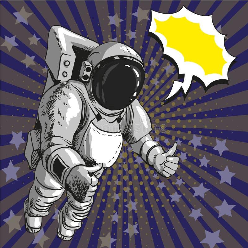 Vectorillustratie van astronaut in kosmische ruimte, pop-artstijl royalty-vrije illustratie