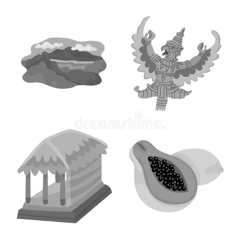 Vectorillustratie van Aziaat en aardrijkskundeteken Reeks van Aziaat en het symbool van de toerismevoorraad voor Web stock illustratie