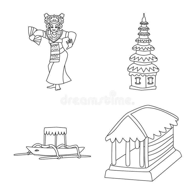 Vectorillustratie van Balinees en Cara?bisch pictogram Inzameling van het symbool van de Balinese en aardrijkskundevoorraad voor  royalty-vrije illustratie