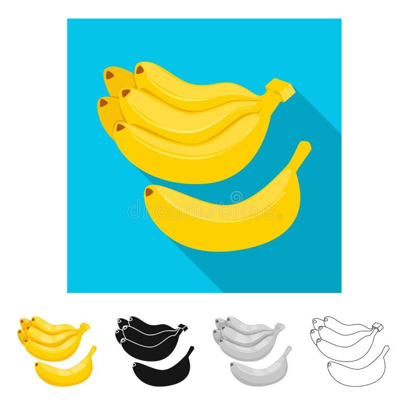 Vectorillustratie van banaan en bosembleem Reeks van banaan en fruitvoorraad vectorillustratie royalty-vrije illustratie