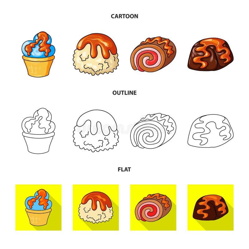 Vectorillustratie van banketbakkerij en culinair pictogram Inzameling van banketbakkerij en productvoorraadsymbool voor Web stock illustratie