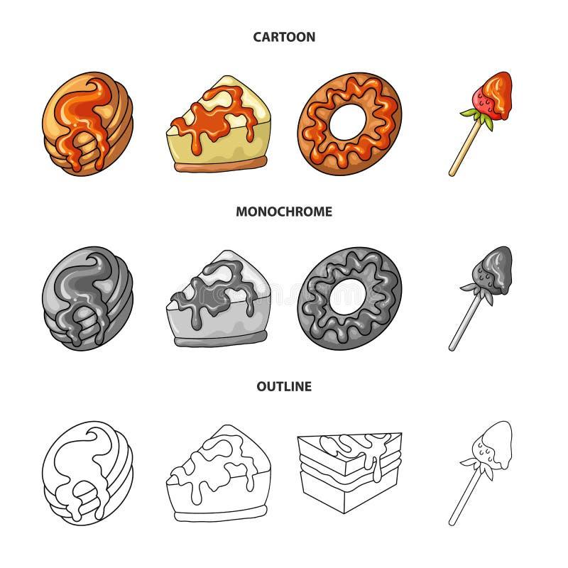 Vectorillustratie van banketbakkerij en culinair symbool Inzameling van banketbakkerij en product vectorpictogram voor voorraad vector illustratie