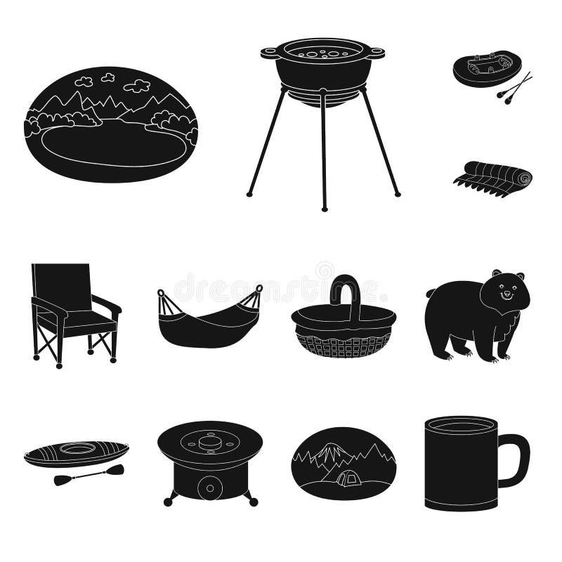 Vectorillustratie van barbecue en rust pictogram Inzameling van barbecue en aard vectorpictogram voor voorraad vector illustratie
