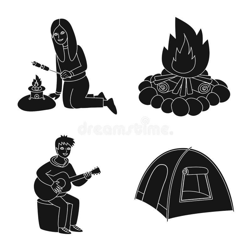Vectorillustratie van barbecue en rust symbool Inzameling van barbecue en aard vectorpictogram voor voorraad vector illustratie