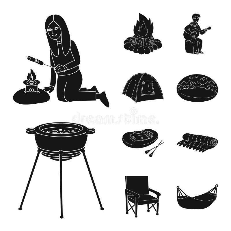 Vectorillustratie van barbecue en rust symbool Inzameling van barbecue en aardvoorraad vectorillustratie vector illustratie