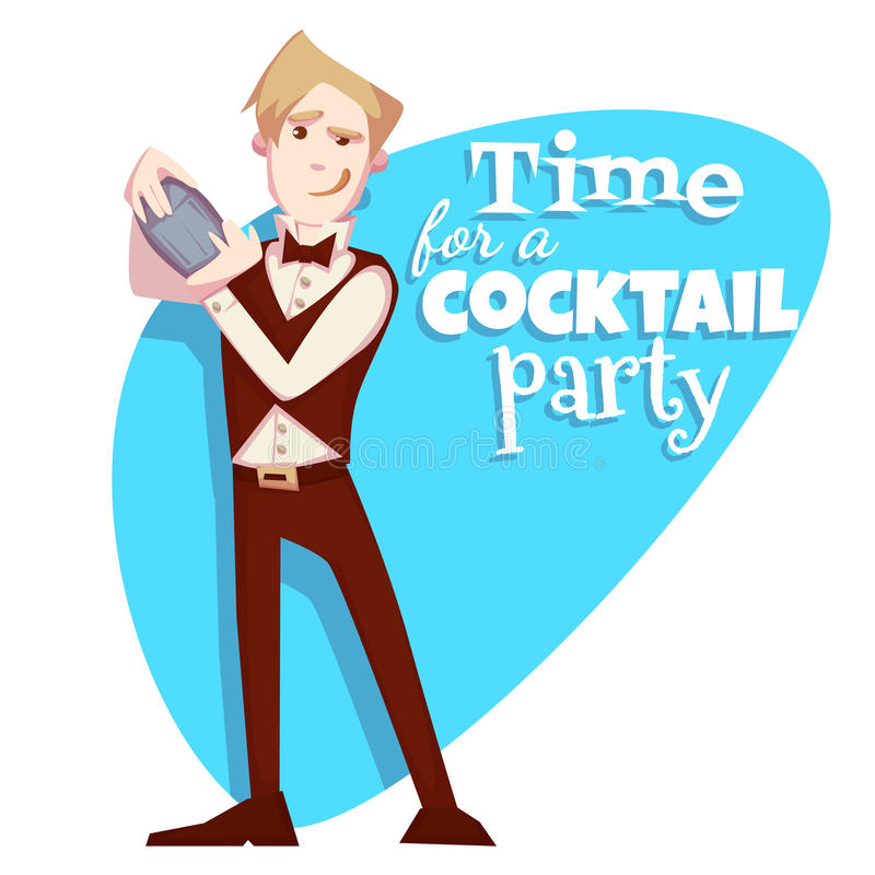Vectorillustratie van barman voor cocktail party royalty-vrije illustratie