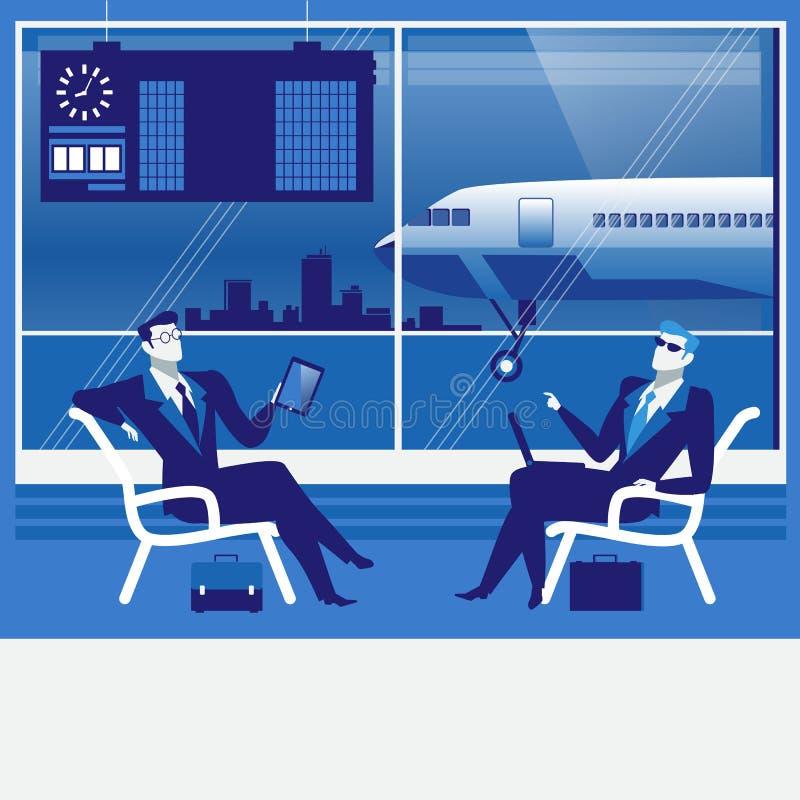 Vectorillustratie van bedrijfsmensen die bij de luchthaven wachten royalty-vrije illustratie