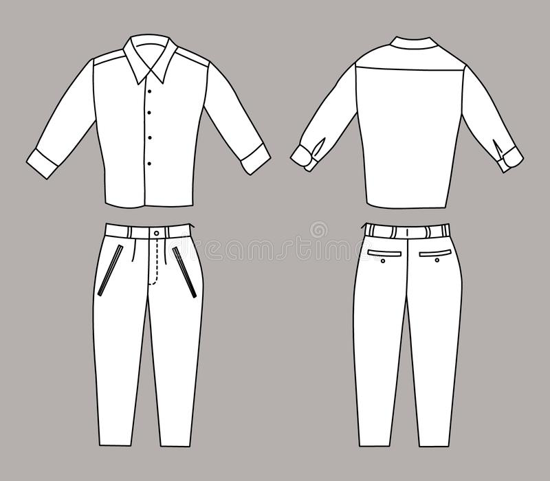 Vectorillustratie van Bedrijfsoverhemd en Broek, Voor en Achtermeningen royalty-vrije illustratie