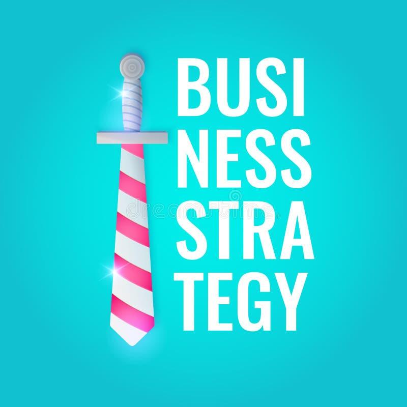 Vectorillustratie van Bedrijfsstrategie met een zwaard en de tekst op de blauwe achtergrond Heldere affiche stock illustratie