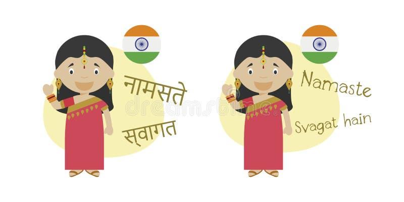Vectorillustratie van beeldverhaalkarakters hello en onthaal in Hindi en zijn transcriptie die in Latijns alfabet zeggen royalty-vrije illustratie