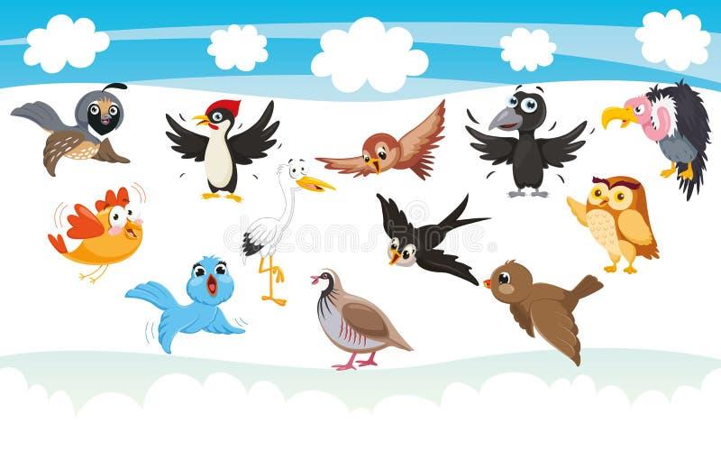 Vectorillustratie van Beeldverhaalvogels royalty-vrije illustratie