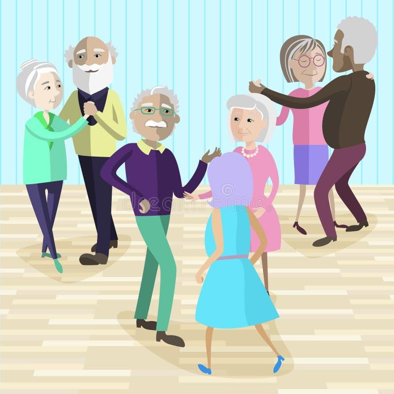 Vectorillustratie van Bejaarde mensen die bij de partij dansen royalty-vrije illustratie